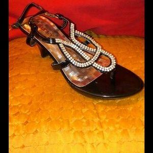 Dazzling bling bling low heel patent